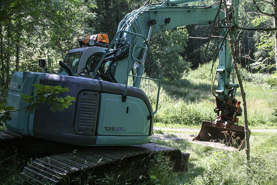 Grävning i skogen pågår...