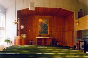 Interiör från Åh kyrka innan renoveringen
